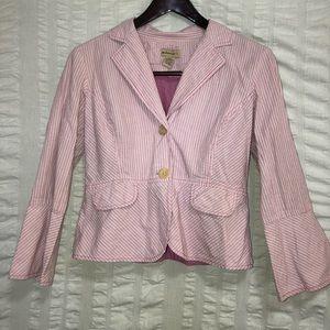 Anthro Elevenses Pink & White Pinstripe Blazer